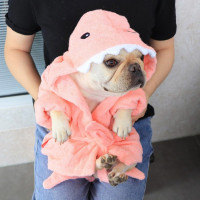 Dog Bathrobe Towel Dog Drying Coats Shark Hippo Flash Sale