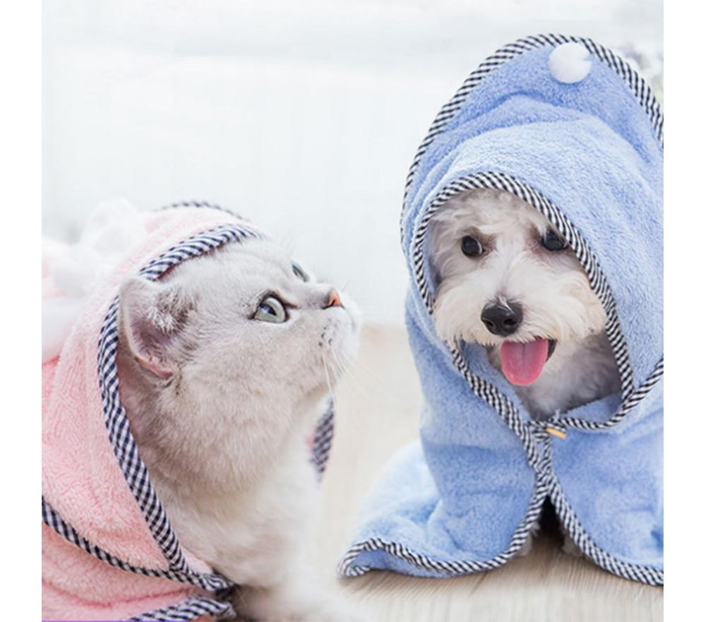 Cat/Dog Bathrobe Bath Drying Towel Dual-use