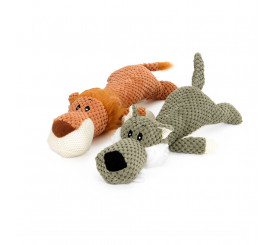 Textured Plush Squeaky Dog Toy 2 Pack