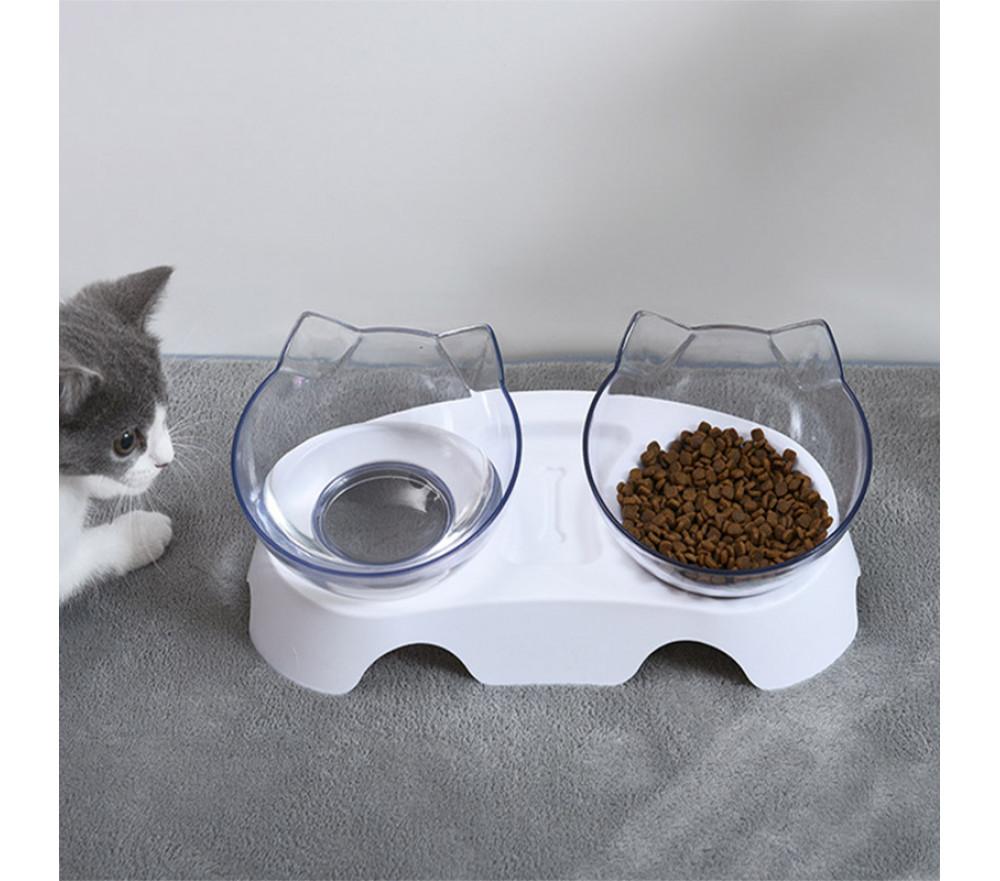 Adjustable Double Bowl Slanted Cat Food Bowl Protect Cervical Spine Pet Bowl