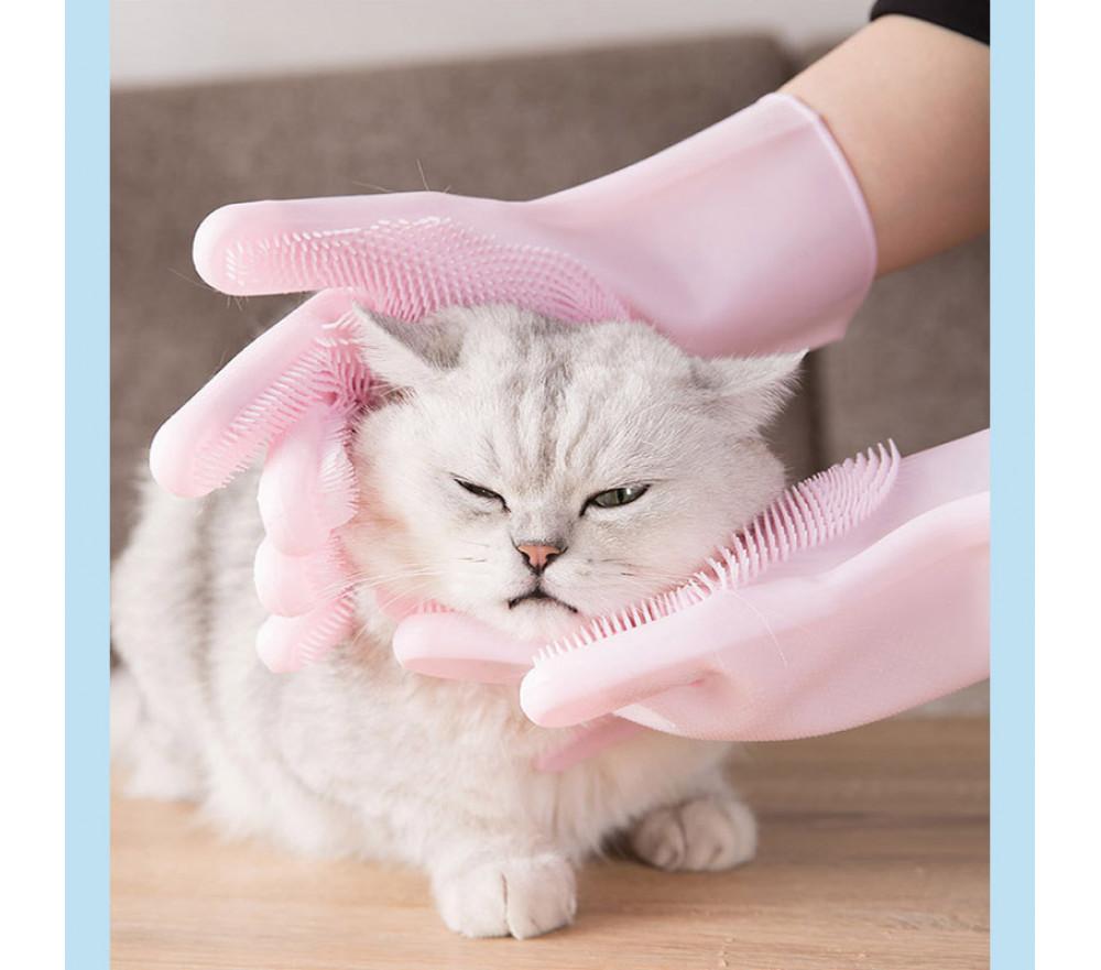 Pet Grooming Glove Gentle Deshedding Brush Silicone Massage Bath Glove for Dog & Cat