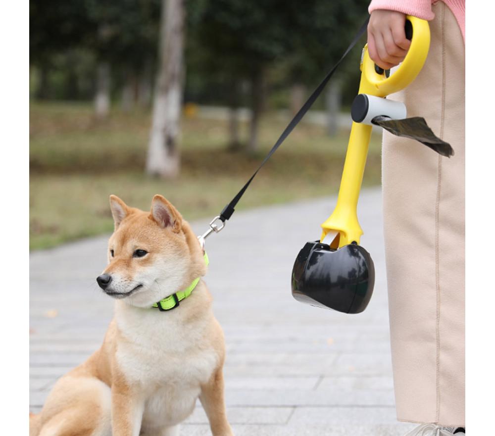 One-handed Dog Walk Pooper Scooper with Waste Bag Holder