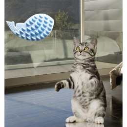Whale Shape Cat Self Groomer Pasteable Face Scratcher Sticker