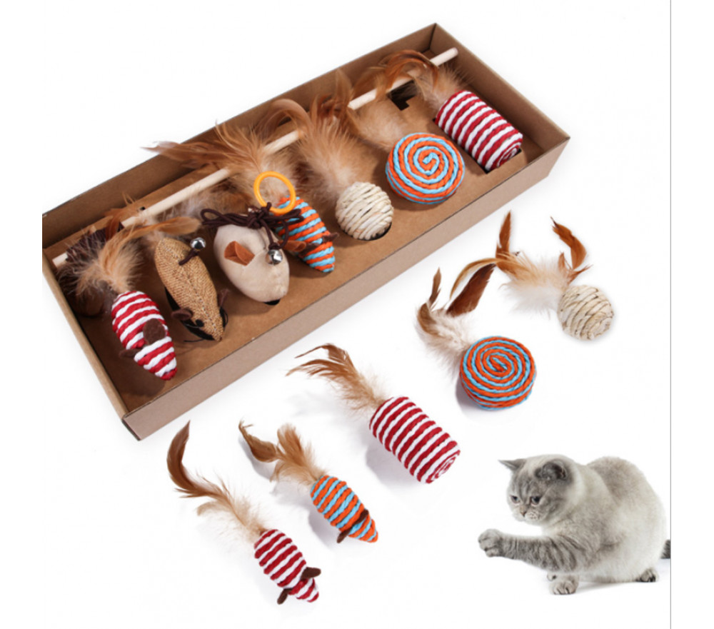 Cat Feather 7-piece Set Simulation Mouse Molars Toy Supplies