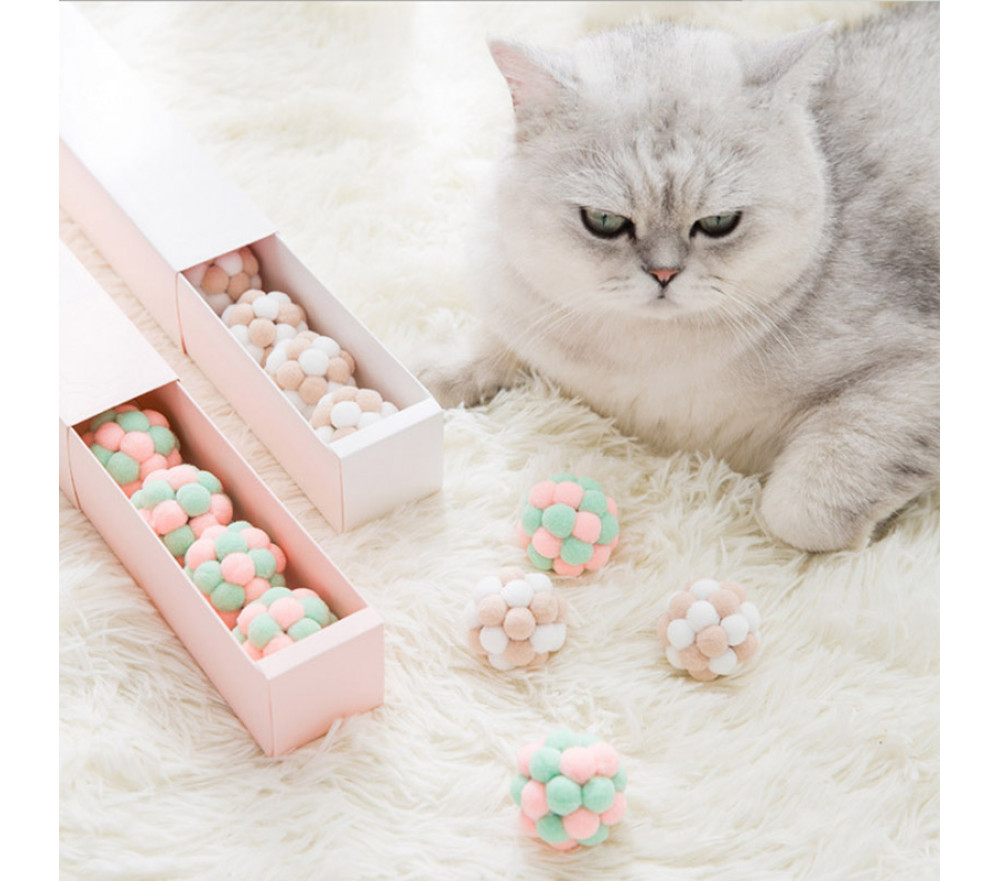 Handmade Plush Ball Stretch Bell Ball Cat Toy Set