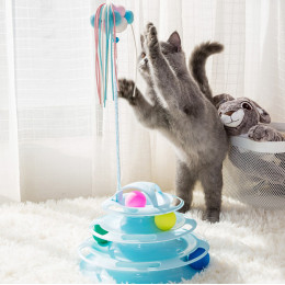 Interactive Cat Toy Ball Track Four-layered Turntable