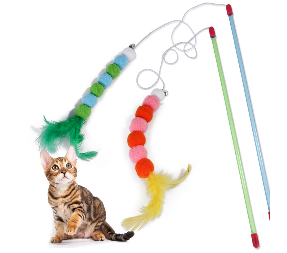 Feather Cat Teaser Toy with Bells and Pompom