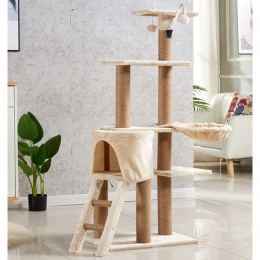 Carpet Cat Climbing Tree House Luxury Scratching Post with Stairs