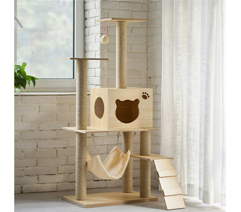 Multi-layer Wooden Cat Tower Climbing Tree Condo House