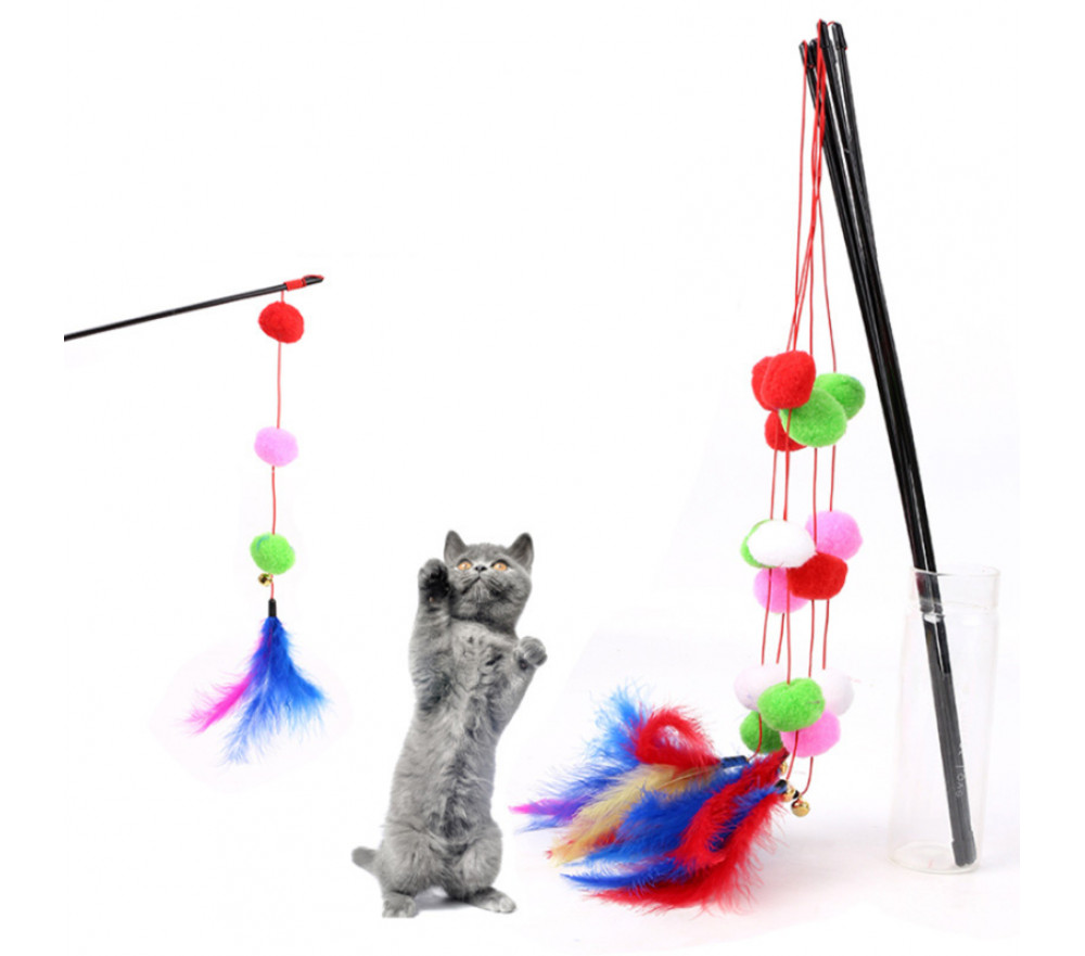 Three Balls Colorful Feather Teaser Cat Stick