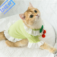 Cherry Bow Summer Dress for Cats and Small Dogs