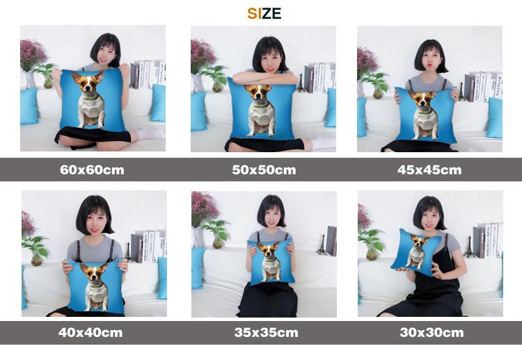Available Sizes of Custom Pet Portrait Pillow