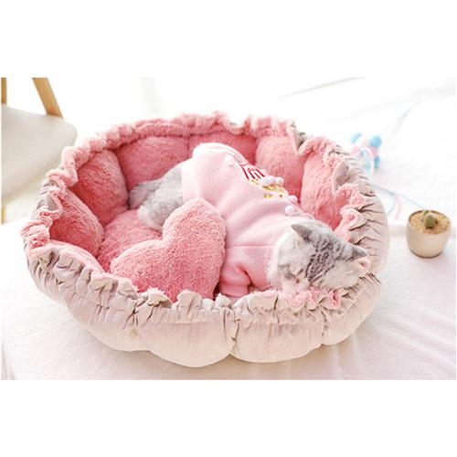Flower Pet Mat, Round Pet Mat, Princess Cat Bed, Pink Cat pet, cute cat bed