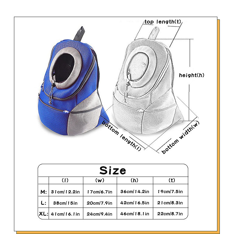 size chart and product dimension