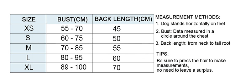 dog carrier 30 lbs size chart from size XS to size XL