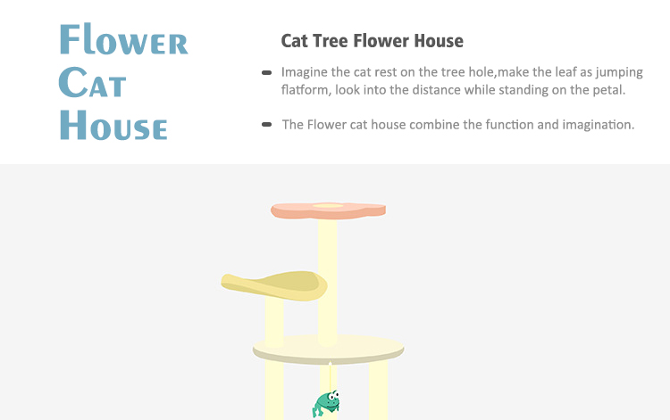 Cat Tree Flower House Drawing